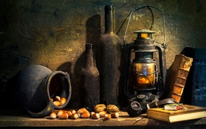 Picture books, lamp, tube, bottle, nuts, Forgotten times