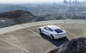 Picture Concept, the city, mountain, Porsche, Parking, Parking, white, the view from the top, 2015, Mission …