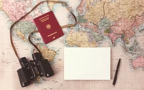 Wallpaper map, binoculars, paper, pen, Travel planning map, plans