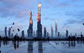 Picture Future, Art, Skyscraper, area, People, The city, Building, Birds