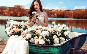 Picture girl, flowers, nature, lake, boat, roses, dress