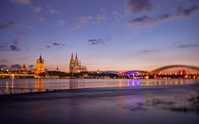 Picture bridge, the city, river, morning, Germany, temple, architecture, Cologne