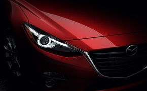 Wallpaper headlight, sedan, red, Mazda 3, Mazda, Sedan