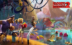 Picture hamburger, scientist, Multfilm, Continued, Cloudy with a chance of Meatballs 2