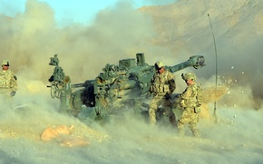 Wallpaper weapons, war, soldiers, howitzer