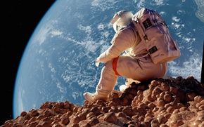 Wallpaper stones, sitting, Earth, astronaut, astronaut, the situation, The moon, astronaut