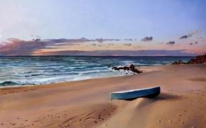 Picture sand, sea, beach, stones, shore, boat, surf