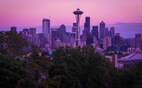 Picture city, USA, skyline, Washington, dusk, purple, skyscrapers, Seattle, dusk sky, Queen Anne's View, spaceneedle