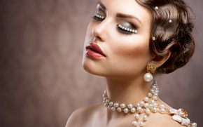Picture girl, makeup, hairstyle, pearl, beads, decoration, Anna Subbotina