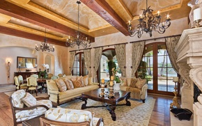 Picture wooden, living room, home, luxury
