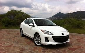 Picture auto, white, landscape, Mazda, white, Axela