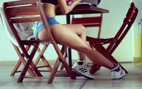 Wallpaper ass, girl, table, ass, sneakers, chair, legs, ass, photography, MOYA