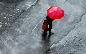 Picture woman, umbrella, raining