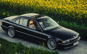 Picture BMW, Boomer, BMW, Black, Stance, E38, Bimmer, Rollers, 740iA
