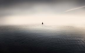 Picture sea, people, minimalism