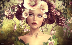 Picture girl, flowers, portrait, hairstyle