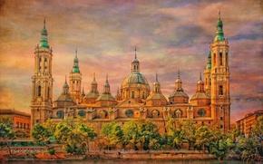 Picture the sky, clouds, Spain, canvas, Zaragoza, Basílica de Nuestra Señora del Pilar