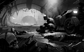 Picture monster, the remains, the tunnel, Comic, car
