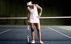 Picture girl, mesh, racket, sneakers, tennis
