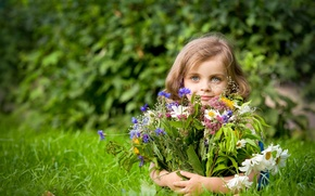 Picture summer, flowers, mood, girl