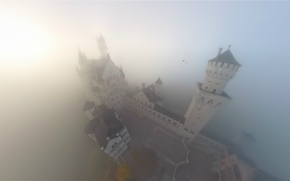 Picture fog, castle, Neuschwanstein, Castle Neuschwanstein