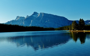 Picture forest, mountains, lake, Canada, Albert, Banff National Park, Two Jack Lake