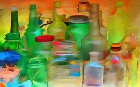 Picture glass, rendering, paint, figure, color, vector, tube, bottle, banks, cover