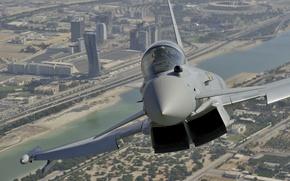 """Picture flight, the city, fighter, Dubai, multipurpose, Eurofighter Typhoon, """"Typhoon"""""""