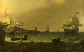 Picture wave, the sky, clouds, landscape, storm, boat, ship, picture, port, harbour