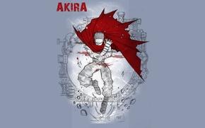 Picture red, fiction, figure, art, cloak, cyberpunk, madness, bandages, postapocalyptic, Akira, Akira, Tetsuo Shima, Tetsuo Shima