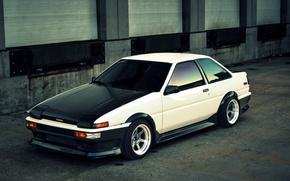 Picture white, toyota, corolla, ae86, Toyota, Corolla, frontside