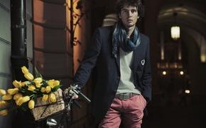 Picture flowers, bike, street, basket, scarf, lantern, arch, tulips, guy, twilight, brunette, the Weser