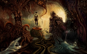 Picture surrealism, people, hands, art, monsters, creatures, cave