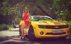 Picture machine, girl, Chevrolet