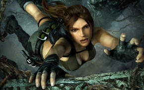 Picture jump, the game, gloves, Tomb Raider, lara croft, the ledge, clings