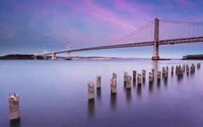Picture the sky, clouds, landscape, bridge, city, the city, Strait, shore, the evening, lighting, lights, CA, ...