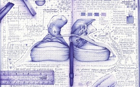 Wallpaper figure, notebook, sneakers, creative