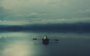 Picture clouds, lake, overcast, boat, male, paddles