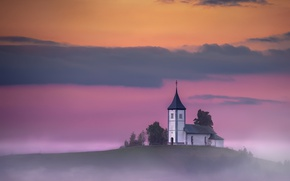 Picture sunset, fog, temple