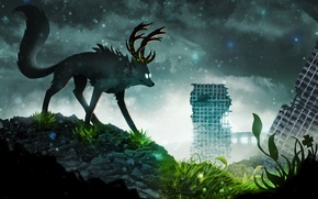 Picture the sky, grass, leaves, snow, clouds, animal, building, art, horns, ruins, romance of the Apocalypse, …