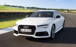 Wallpaper RS 7, speed, track, speed, Sportback performance, white, car, auto, Audi