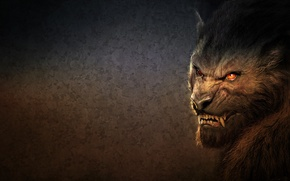 Picture BACKGROUND, LOOK, WOOL, MOUTH, FACE, FANGS, HEAD, EARS, WOLF, BEING, WEREWOLF