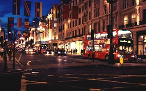 Picture road, machine, night, the city, people, England, London, building, home, the evening, crossroads, UK, bus, …