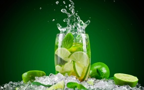 Picture water, glass, ice, splash, lime, drink, mint