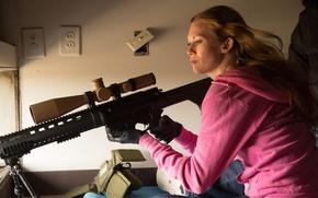 Picture rifle, action, sniper, Mireille Enos, Sabotage, Sabotage, Mireille INOS