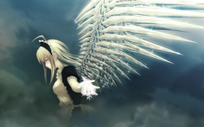 Wallpaper angel, wings, clouds