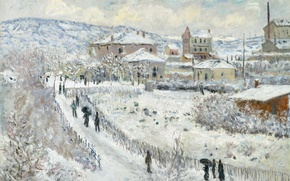 Picture winter, View of Argenteuil in the Snow, the urban landscape, picture, Claude Monet