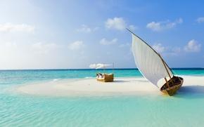 Picture sand, sea, beach, tropics, boat, island, The Maldives, kravat