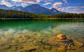 Picture forest, mountains, stones, Lake
