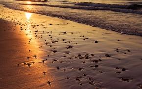 Picture sand, sea, beach, the sun, sunset, reflection, wave, England, pierce, Bournemouth